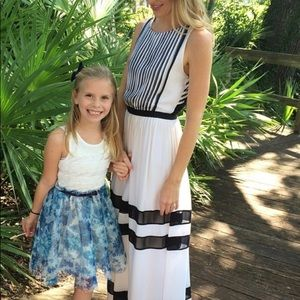 Alice and Olivia White and Navy Maxi Dress